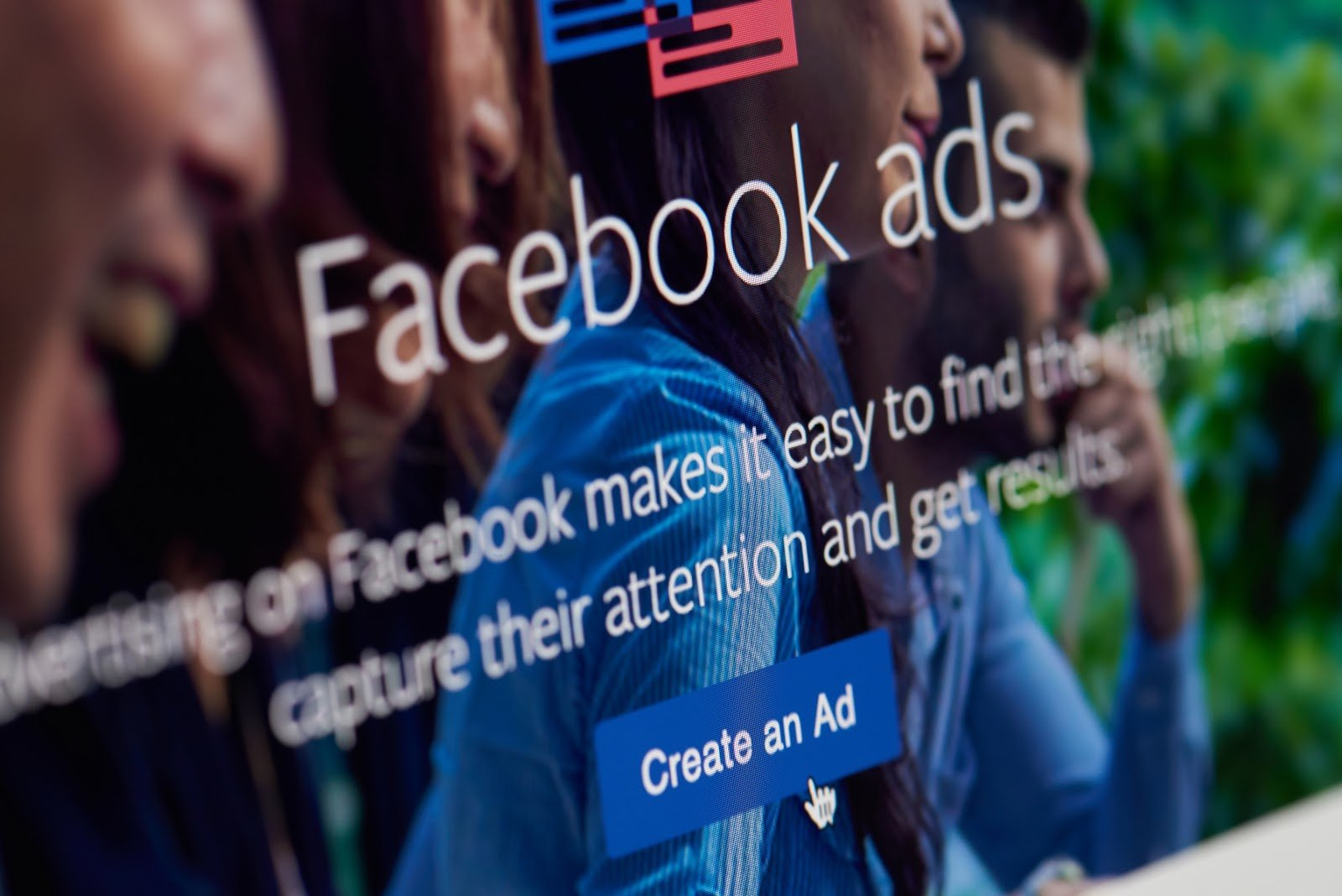 Screenshot of the Facebook ads page describing the impact of paid social media.