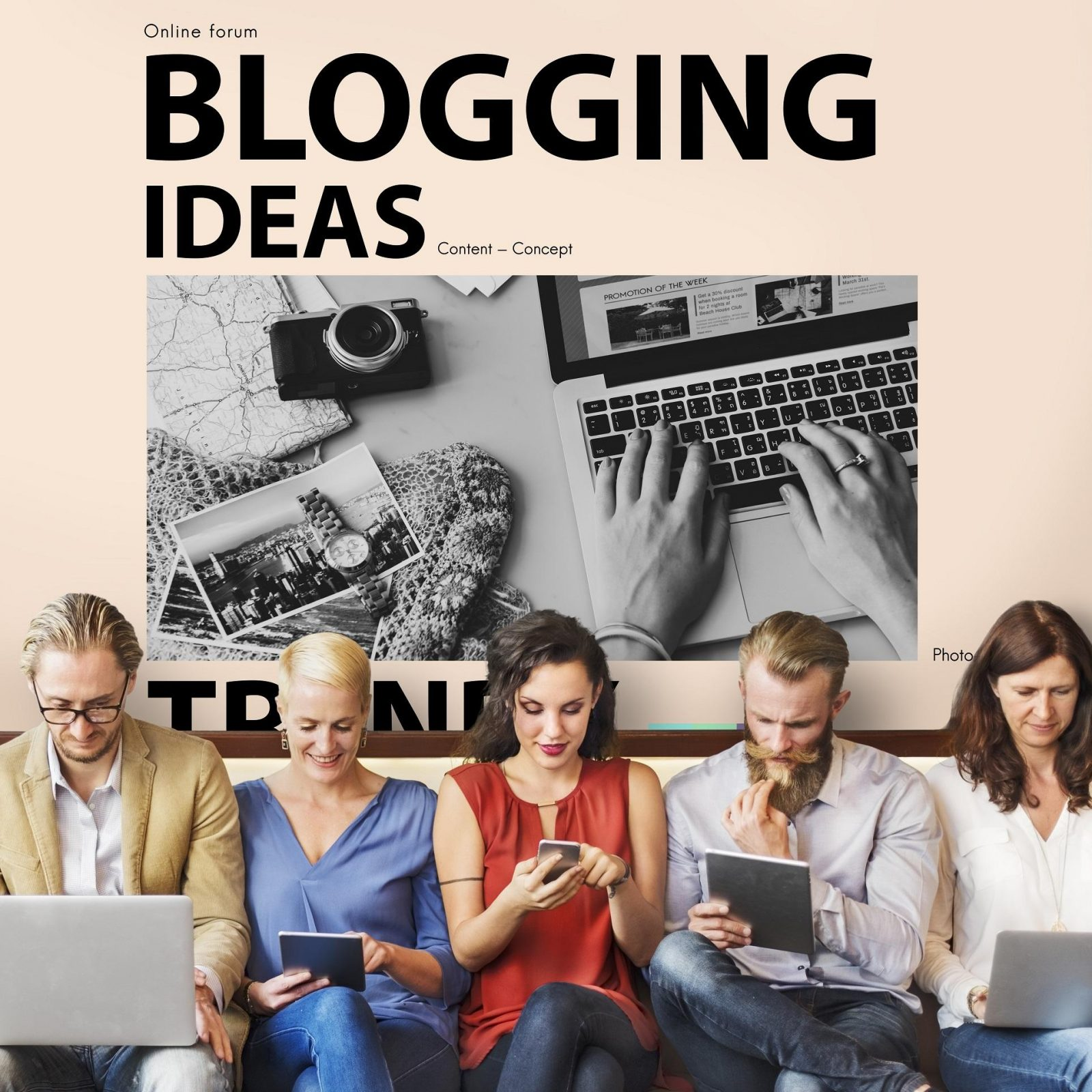 """Five people sit looking at their various devices in front of a large photograph beneath the title """"Blogging Ideas""""."""